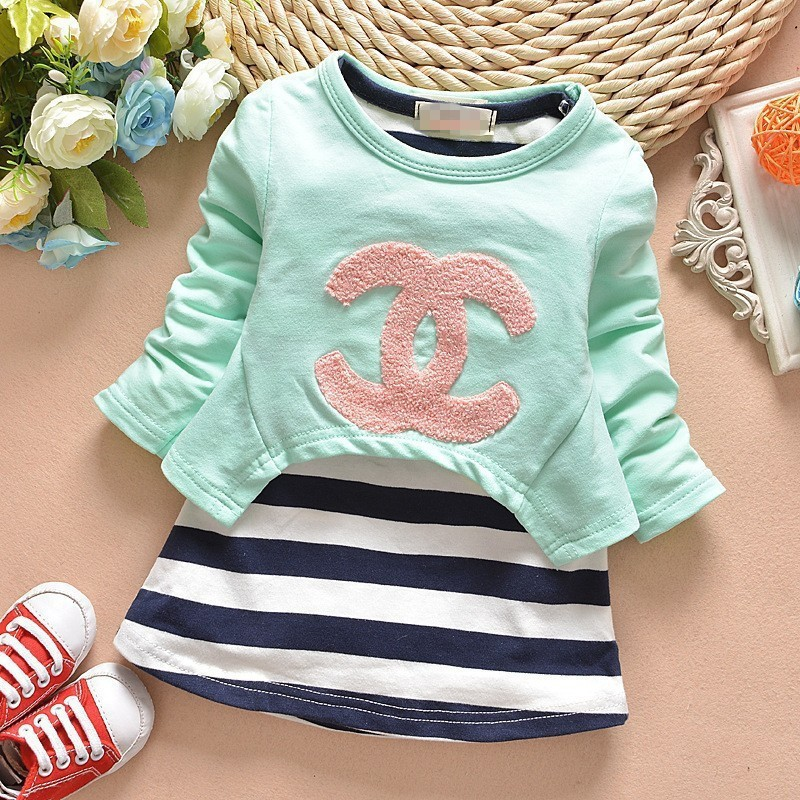 Baby Set 2015 Spring Girls Clothing sets Striped Newborn Baby Clothes Infant 2PCS set Casual Children Clothing Sets Sports Suits(China (Mainland))