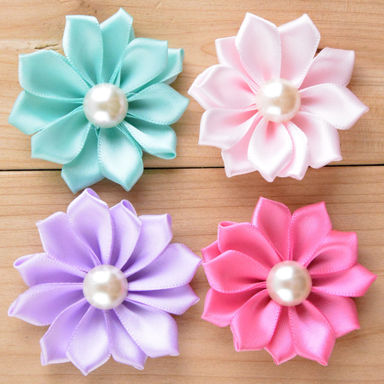 """2"""" Satin Ribbon Flowers For Baby Headbands Hair Accessories Pearl Fabric Flower For Children 50PCS/LOT Free Shipping(China (Mainland))"""