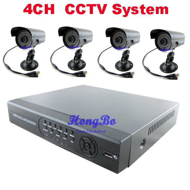 4 CH IR Outdoor Surveillance CCTV Camera 700tvl Kit Home Security 4ch Network DVR Video Recorder Systems HDD Sells Seperately(China (Mainland))
