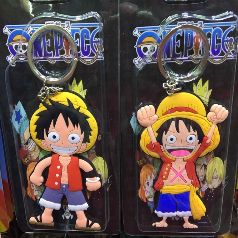 Anime Cartoon Cute Kawaii One Piece Luffy keychain Action Figure Toys double-sided Silicone PVC keychain(China (Mainland))