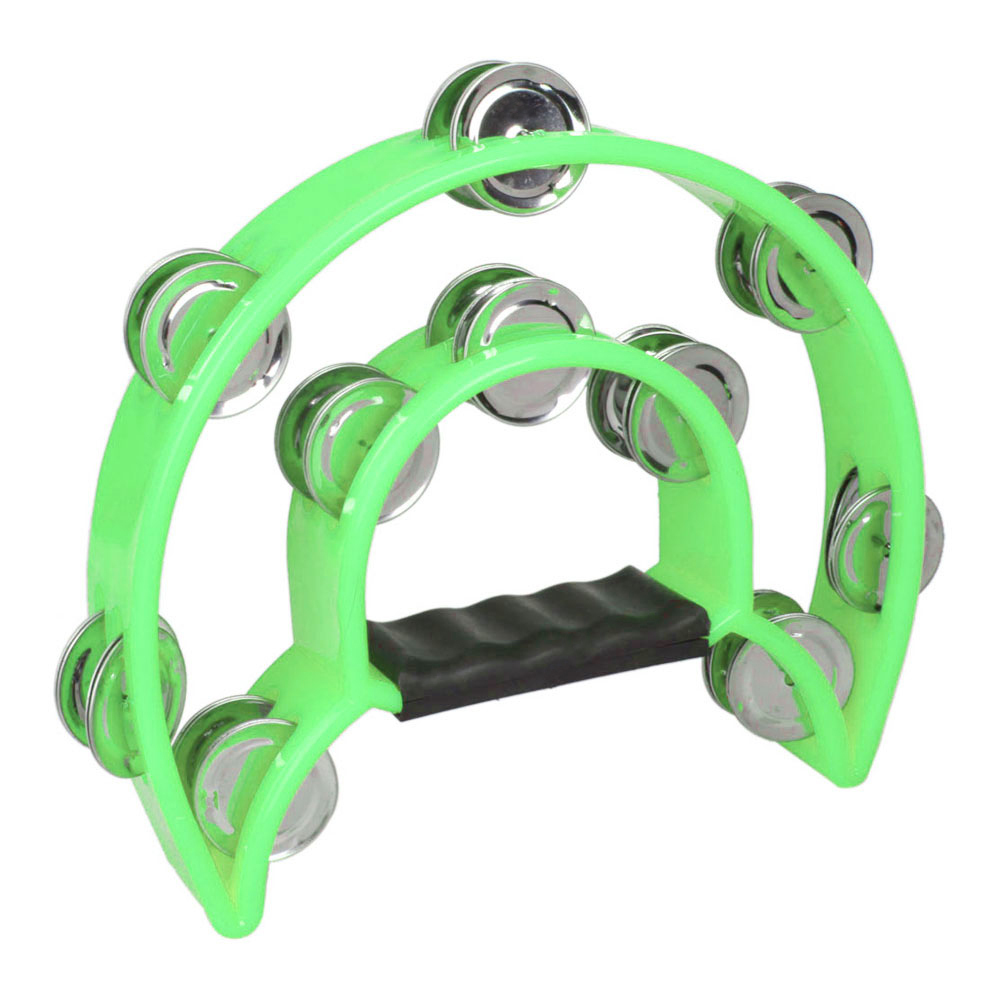 New High Quality Green Color Metal Hand Held Rattles Drum Percussion Toy Tambourine Double Row Jingles Musica Instrument Russia(China (Mainland))