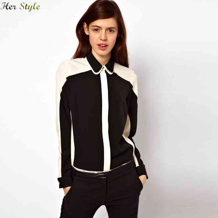 Free Shipping 2015 spring new style black and white mixed colors mosaic chiffon shirt with double collar long sleeves fema(China (Mainland))