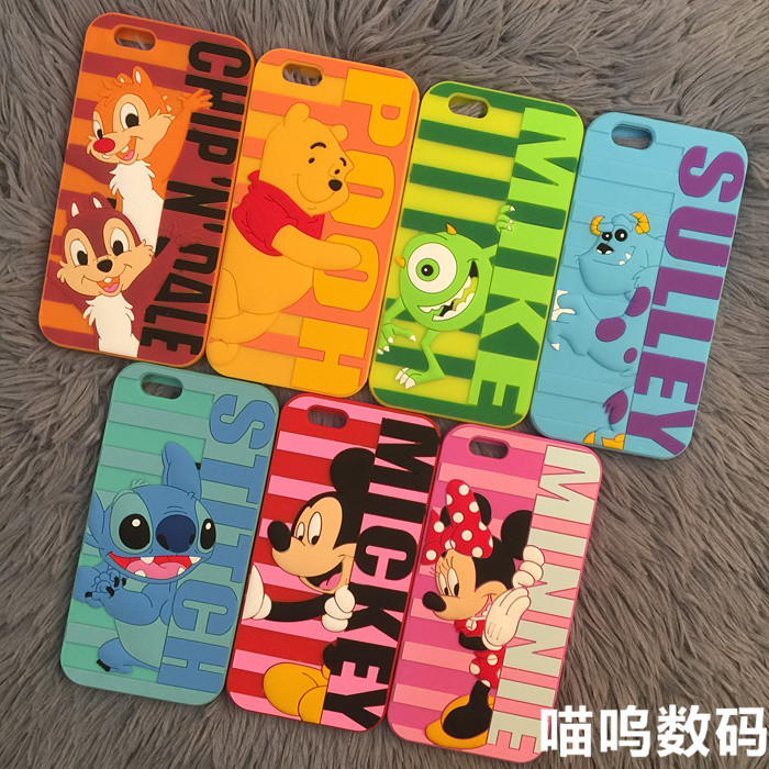 New arrival luxury 3d cute cartoon mickey minnie sulley pooh cellphone bag soft silicone case cover for iPhone 5 6 6s plus(China (Mainland))
