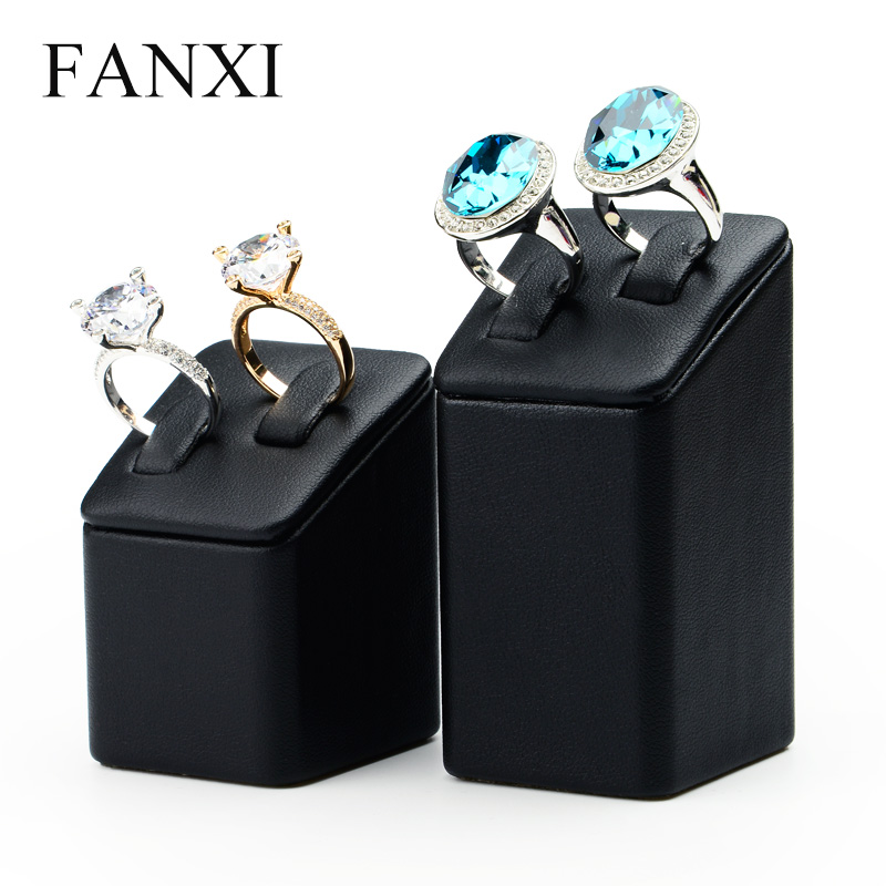 FANXI Free Shipping Exquisite Black PU Leather Lovers Ring Exhibitor Holder Stand Set Tilt Prop for Jewelry Display Shop Show(China (Mainland))