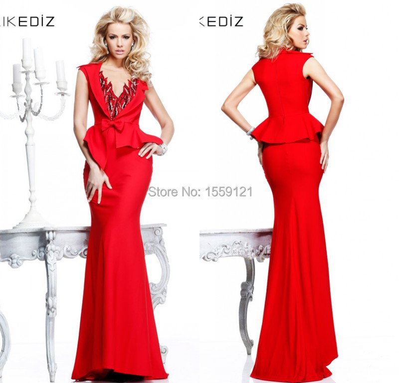 2015 Latest Evening Dresses Red Long Mermaid Two Piece Prom Party Gown Deep V Neck With Beading Two Piece Set Custom Made CR1124(China (Mainland))
