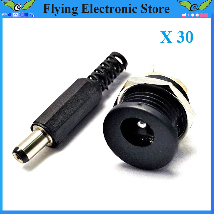 DC connector 5.5*2.1 / 5.5x2.1mm dc power connector male female total 30pcs( male 15pcs+ female 15pcs) dc power socket plug jack(China (Mainland))
