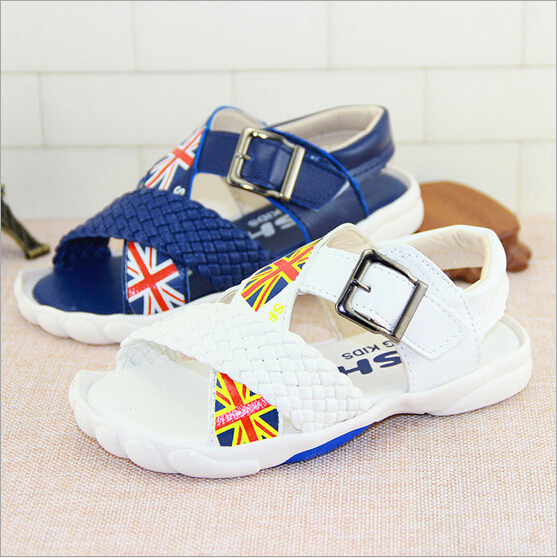 Boys Girls Summer Sandals Genuine Leather Fashion baby shoes Children Beach Flag Shoes Sandals Boy Girls Slippers Kids Shoe 116(China (Mainland))