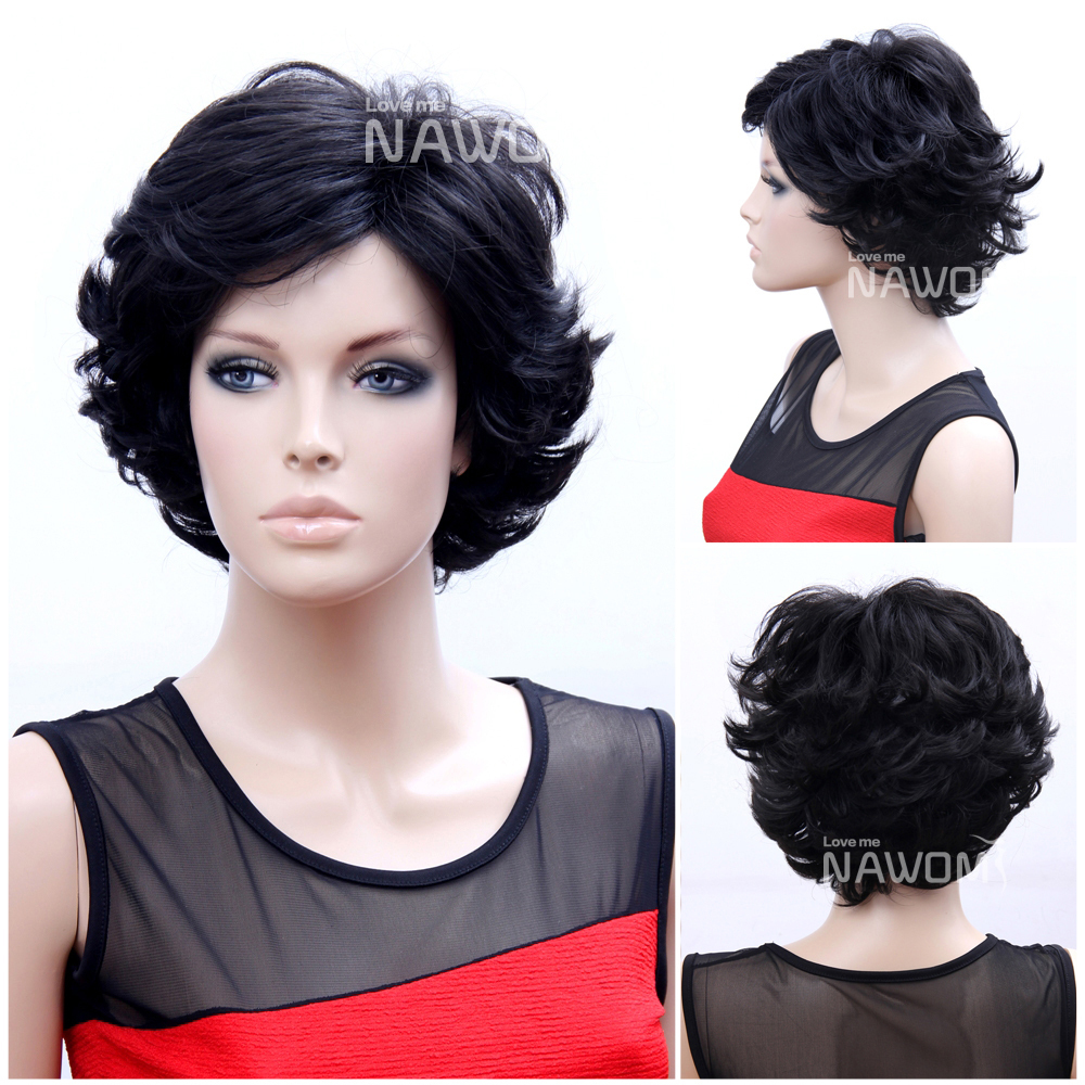 2015 100% Kanekalon Mother Wigs/Short Black Wavy Wigs Women/Natural Synthetic Hair Sale - Nawomi store