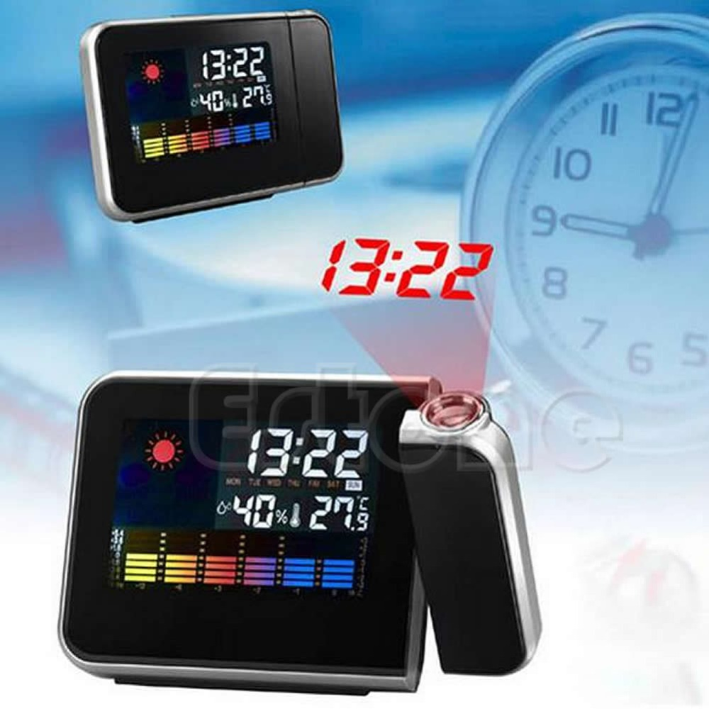 1PC Digital LCD LED Projector Alarm Clock Projecting Weather Station Thermometer(China (Mainland))