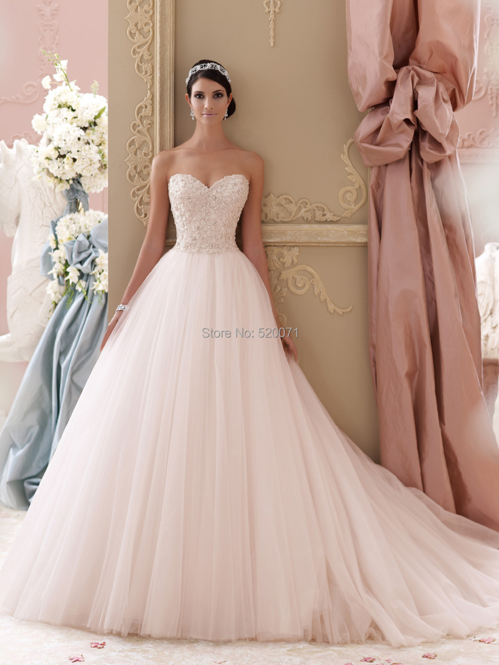 Aliexpress Buy 2015 Fashion Ball Gown V Neck Strapless White Ivory Lace Wedding Dresses