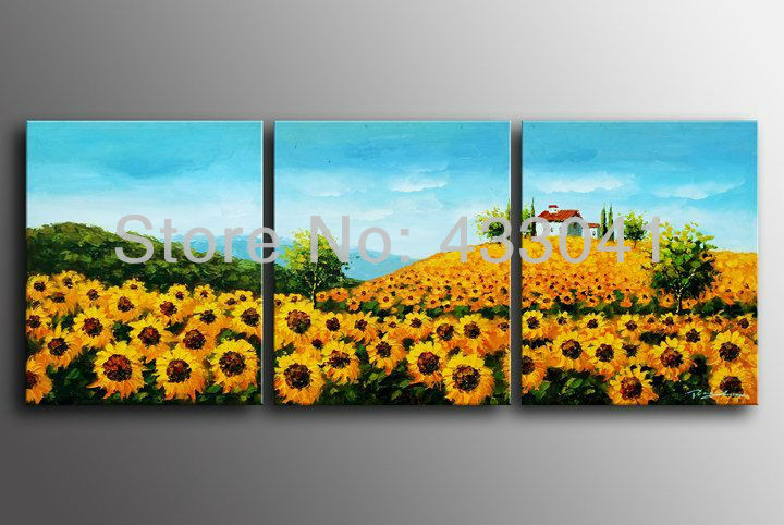 Blue yellow picture of sunflowers farm oil painting