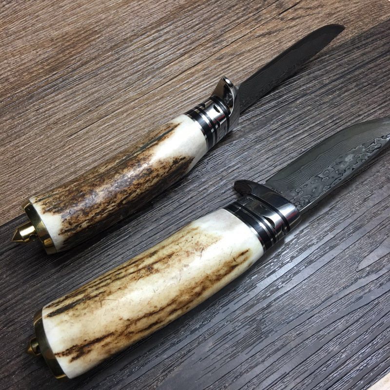 Buy Luxury Handmade Forged Damascus Steel Tactical Hunting Knife 58HRC Fixed Blade Antlers Handle Outdoor Survival Collection Gift cheap
