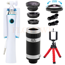 Buy 2017 8X Telephoto Zoom Lentes Mini Selfie Stick 235 Fisheye Lens Wide Angle Macro iPhone 6 7 Xiaomi Phone Camera lenses Kit for $17.37 in AliExpress store