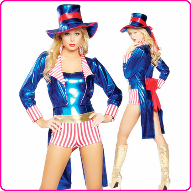 Blue leather clothes tuxedo halloween circus(China (Mainland))