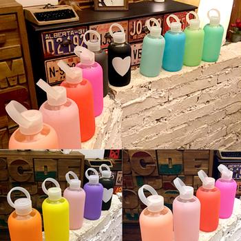 500 ml Stars marca de ee.uu. Warter botella vaso botella Bubbly botella de vidrio de silicona suave