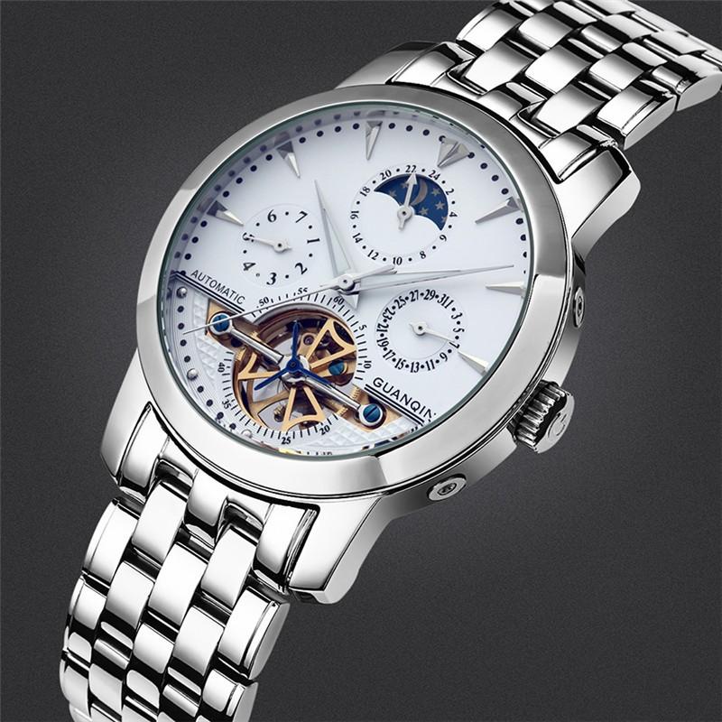 GUANQIN Механические Часы Мужчины Сапфир Зеркало Tourbillon Автоматические Часы Случайный Водонепроницаемый Мужские Наручные Часы Relogios Masculino