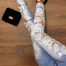 Plus Size Pantalon Femme Lace Floral Side Spliced Stretch Denim Trousers Hollow Out Slim Pencil Pants Women Jeans Femme HO666966(China (Mainland))