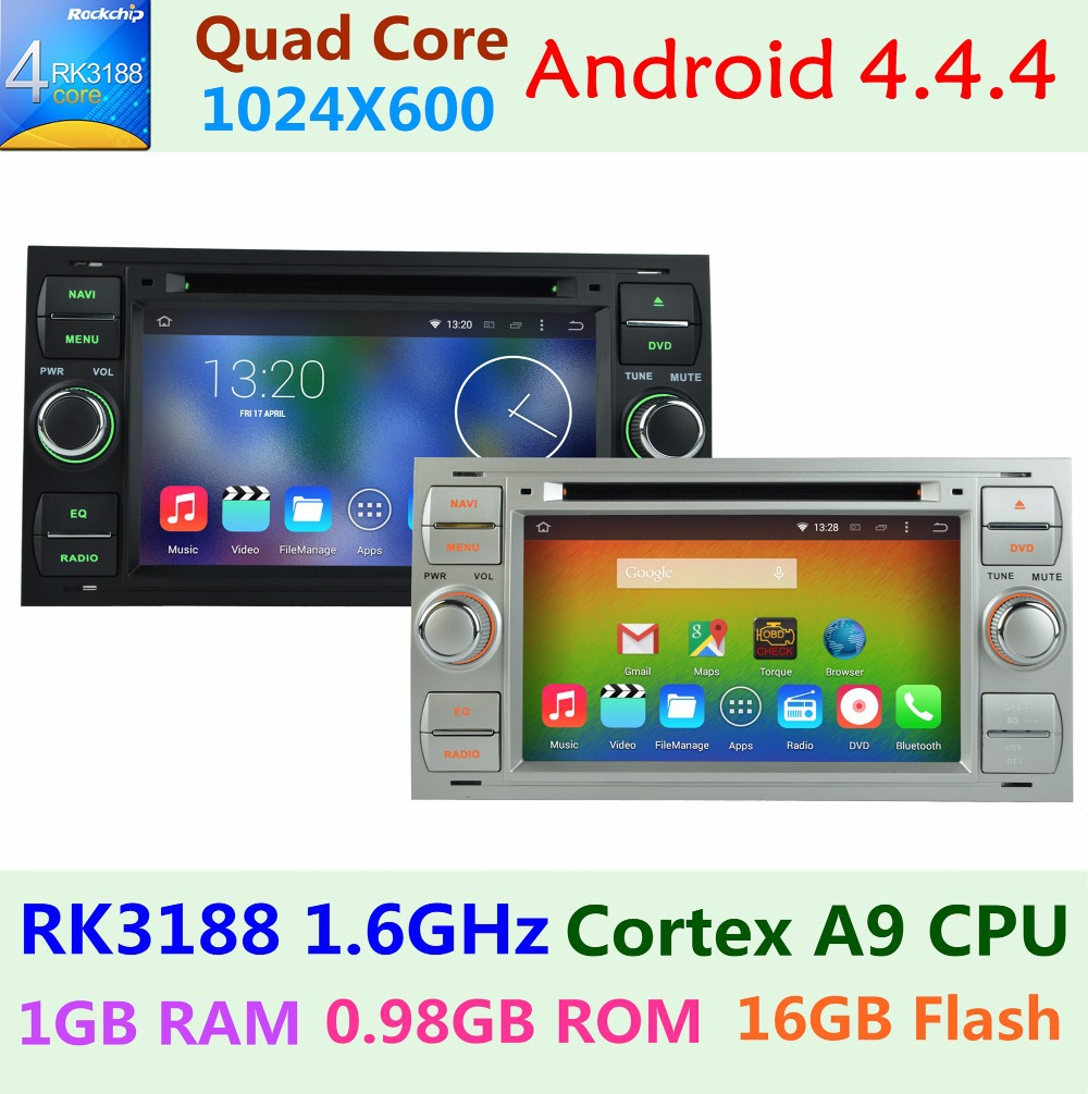 HD 1024*600 Quad Core Android 4.4.4 Car DVD Stereo Radio Player For Ford Ford Kuga Mondeo Connect Transit Fiesta GPS navigation(China (Mainland))
