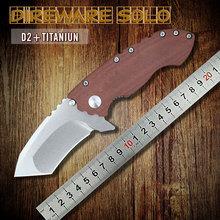 Más nuevo DIREWARE titanio personalizada teniendo Flipper cuchillos D2 Material de la hoja de Micarta supervivencia plegable táctico del cuchillo herramienta EDC