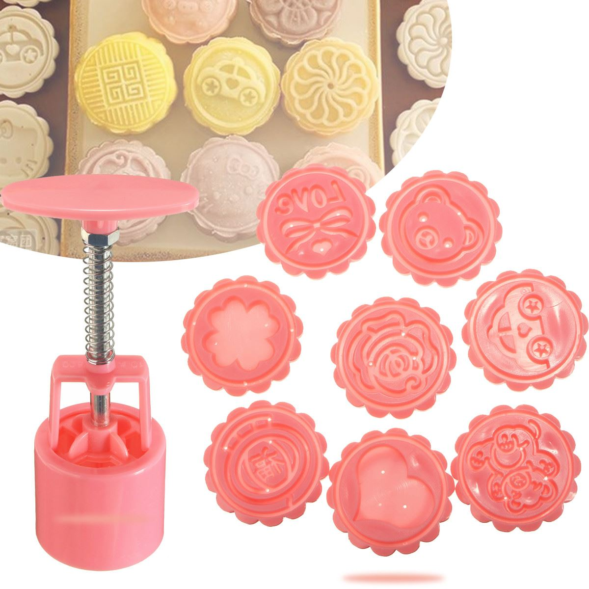9Pcs Pink Round Moon Cake Mold Set 8 Stamps 1 Hand Press Mooncake Maker Kitchen Bakery Pastry Baking Tools Accessories Supplies(China (Mainland))