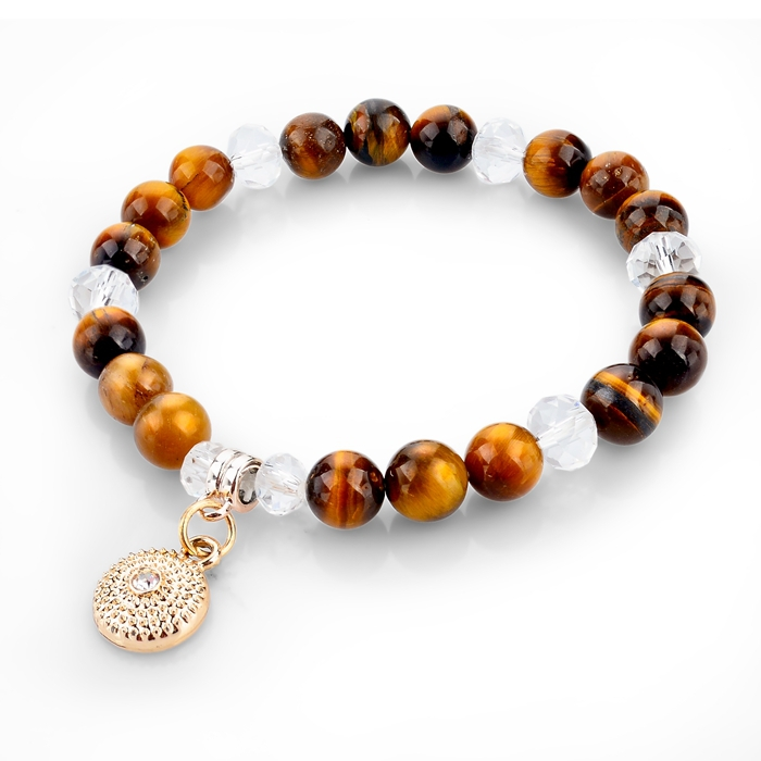 Tiger-eye Charm Bracelets Bangles 2015 Love Pure Natural Stone White Crystal Bracelets For Women Fashion Jewelry SBR140602(China (Mainland))