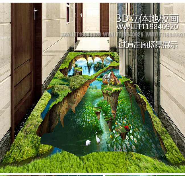 Free shipping custom 3d photos on the bedroom floor for Floor 3d painting