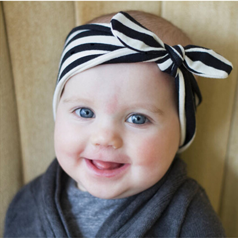 Baby girls cotton cute striped bow-knot Headband Bow Baby girl Hair accessories Vintage Head Wrap Photo Prop Hair Accessories(China (Mainland))