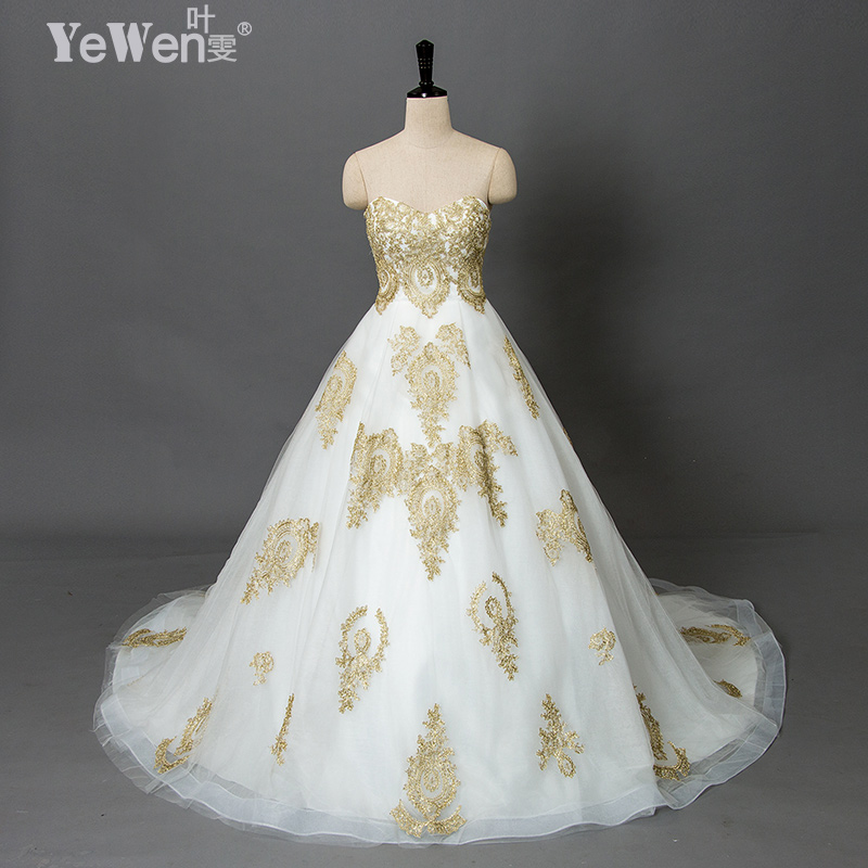Yewen wedding gowns vintage beach plus size gold white for White and gold lace wedding dress