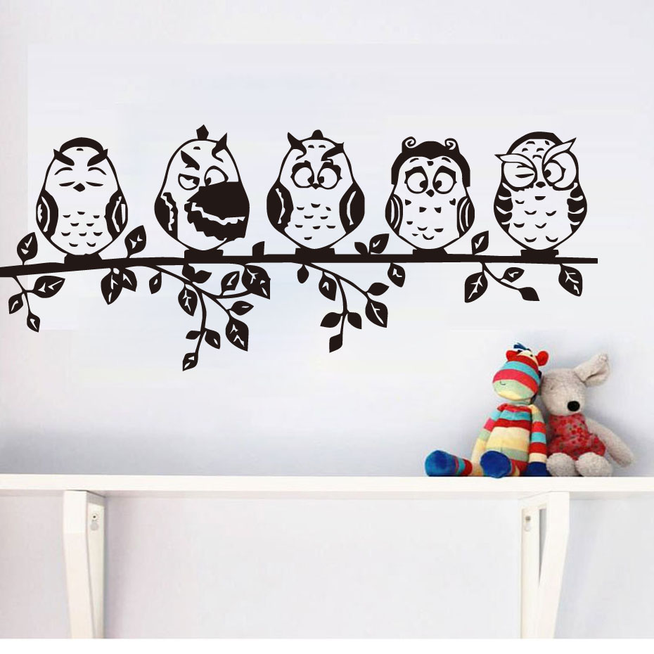 Five Coffee Baby Owl Black Wall Sticker Cartoon Decals PVC Waterproof Hollow Out Home Decor Living Room Wall Decal(China (Mainland))