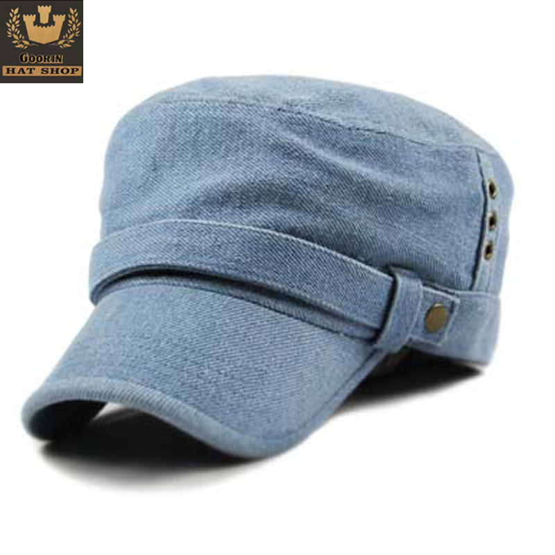 Military Hats Sailor Hat adjustable Tactical Cap Mix Order free Shipping - Fashion Buckle Denim Cadet Male Women's Summer Trend(China (Mainland))