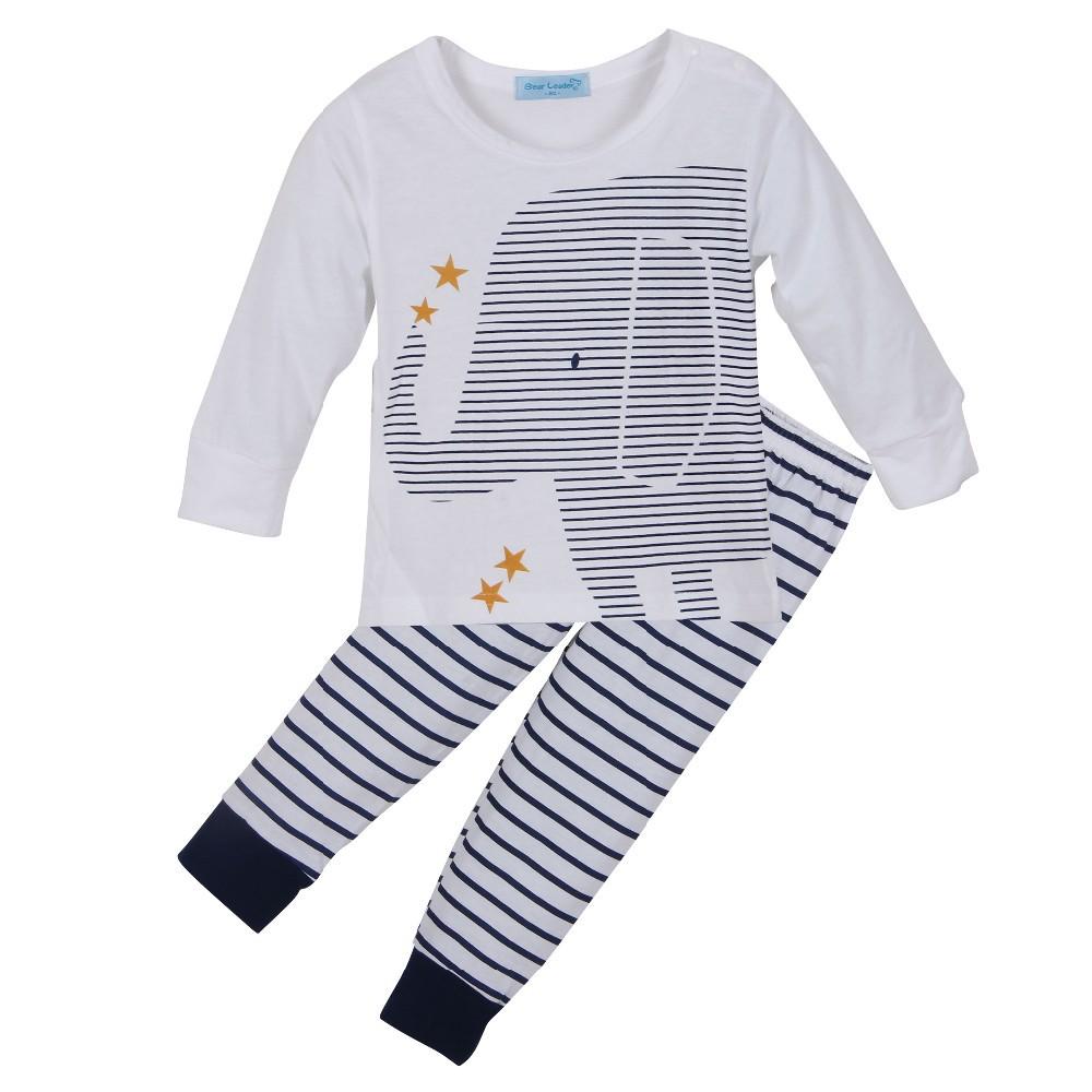 Скидки на Ребенка комбинезон с длинным рукавом хлопка ползунки младенческой мультфильм животных новорожденных детская одежда ползунки + брюки 2 шт. комплект одежды