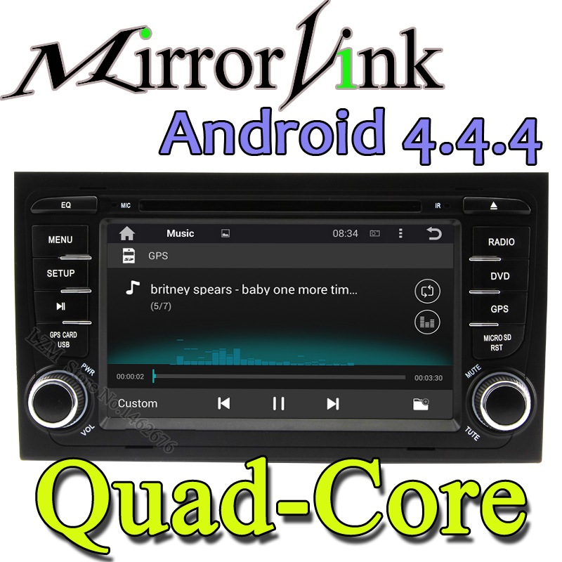HOT 2015 7 inch Android 4.4.4 Auto Car DVD GPS for Audi A4 2002-2008 A9 Quad Core 7 Inch 2 Din with wifi 8GB TF Card Map DHL EMS(China (Mainland))