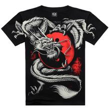 2016 Summer Fashion China Tai Chi T shirt Dragon Rock cotton men Tshirt Black short sleeve 3D Print Heavy Metal Style sleeve