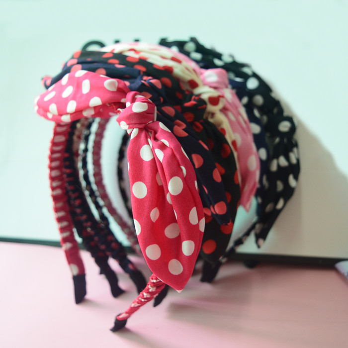 New Arrival Dot Printing Gauze Fabric Bow Hairbands Women Fashion Hair Accessories(China (Mainland))