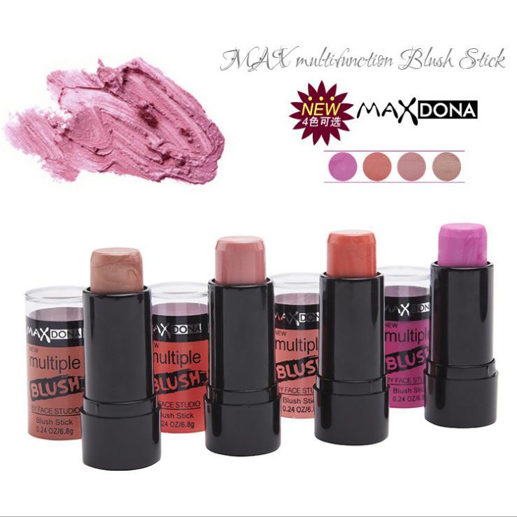 Maxdona Multiple Shimmer Blush Stick 4 Color Optional Long-lasting Moisturize Cream Blush Studio Makeup Face Blusher(China (Mainland))