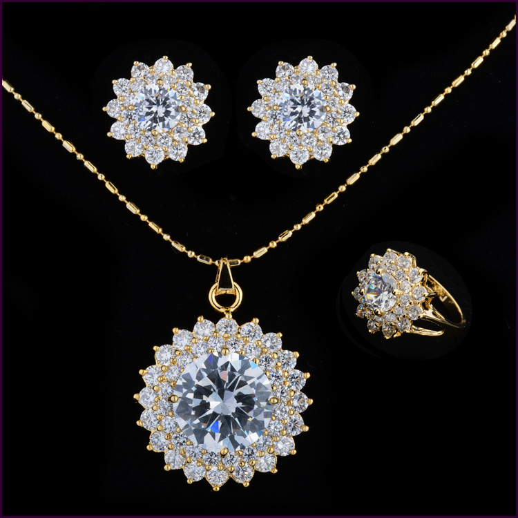 New 2014 Fashion 18K gold plated Swiss CZ wedding accessories jewelry sets Austrian Crystal earrings&amp;necklaces gift for Women<br><br>Aliexpress