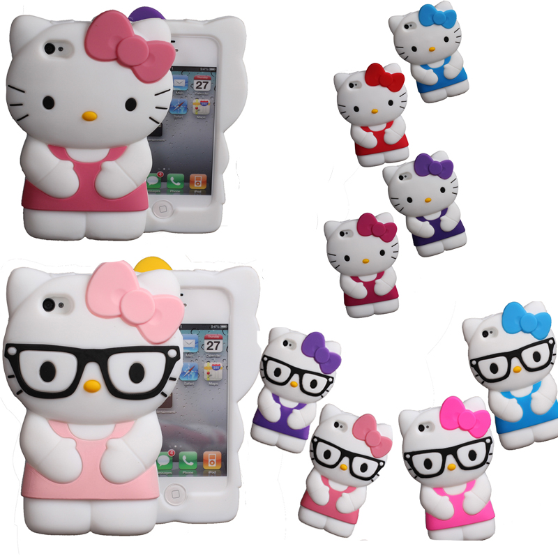 3D Soft Silicon hello kitty Case For iPhone 4 4s 5 5s SE 6 6s plus S2 S3 NOTE2 touch 4/5 cute Bowknot Hello kitty rubber cover(China (Mainland))