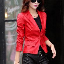 5XL Women Faux Leather Jacket High Quality PU Autumn Outerwear Black/Slim/Leather Suit Coat Plus Size HB-29(China (Mainland))