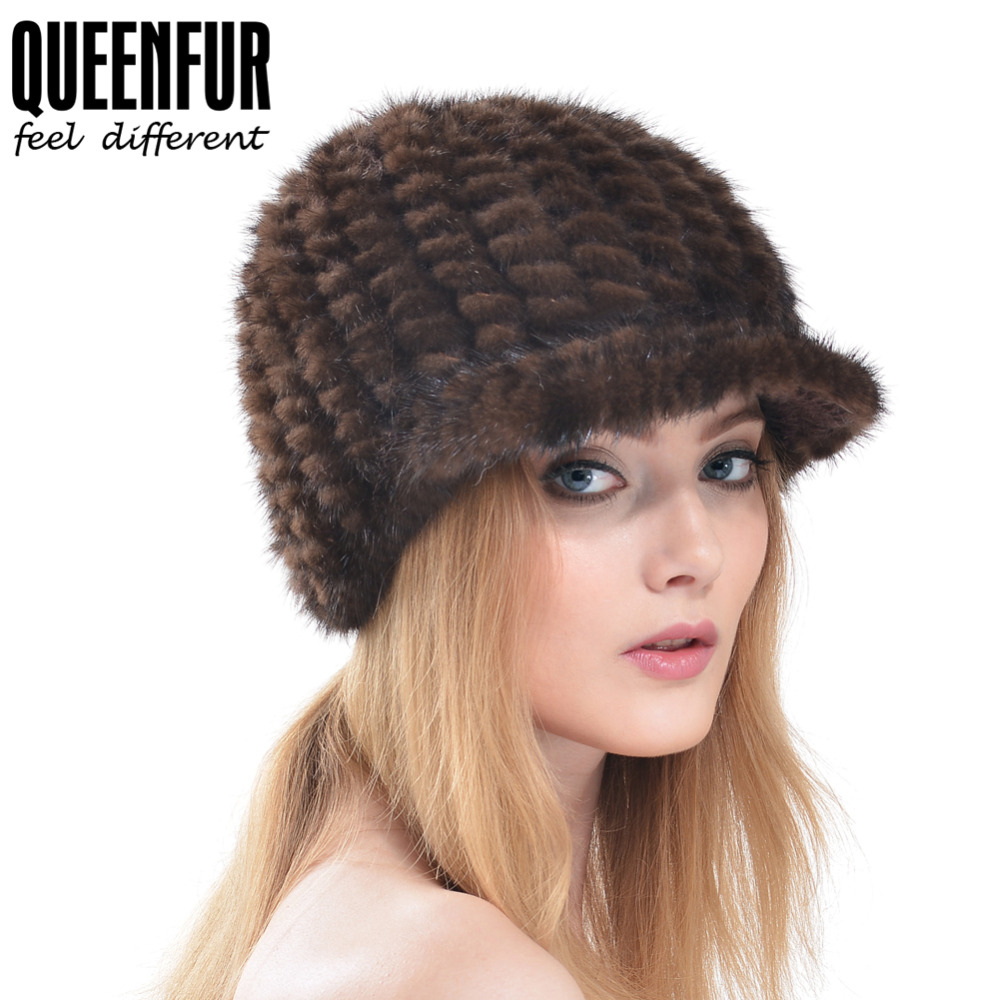 QUEENFUR Imported Mink Fur Hat With Brim For Women Good Quality Real Knitted Mink Fur Visors Hats Genuine Fur Warm Hat Casquette