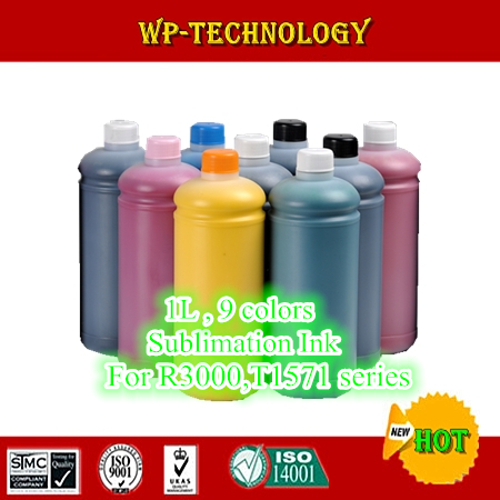 9pcs Sublimation ink suit for Epson R3000 and other brand printer modified form R3000 printer ,1000mL per color, For T1571-T1579