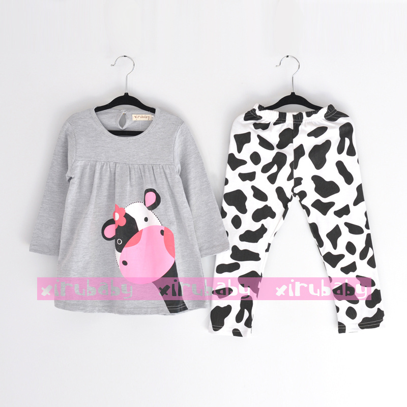 lovely Mother cow suit boy and girl children clothing for the winter girls clothing sets kids pajamas clothes(China (Mainland))