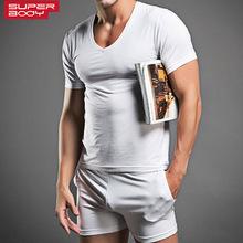 Men Cotton Pajamas Set Tshirts Underwear Brand Superdody Sleepwear Men Undershirts Tees Casual Short Sleeve Boxer Trunks O neck(China (Mainland))