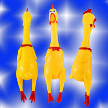 17cm Yellow Rubber Screaming Chicken Pet Dog Cat Baby Toy Squeak Squeaker Chew Crow Chook(China (Mainland))