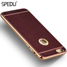 Spedu Litchi grain luxury Plating TPU silicone mobile phone case For iphone 6 6s plus 7 Plating Frame clear cover For iphone6 7(China (Mainland))