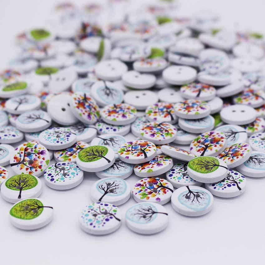 100pcs New Tree Design 2 Holes Wooden Buttons Sewing Buttons Craft Scrapbooking Clothing Accessories(China (Mainland))