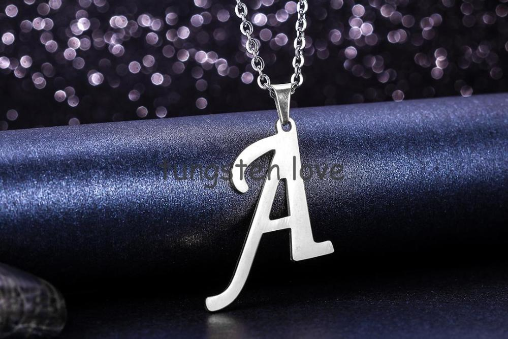 """2015 Fashion 26 Letters Silver Initial Letter Pendant Necklace For Women Men Stainless Steel Chain Necklaces 18"""" - 1 piece(China (Mainland))"""