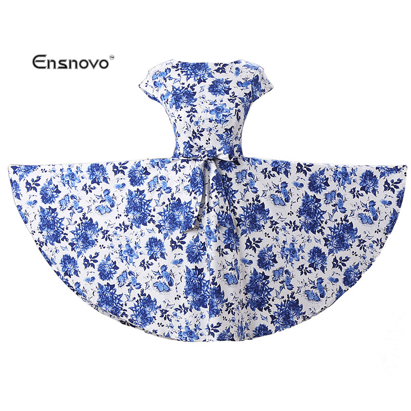 Ensnovo New Arrival 2016 Women Dress Vintage 1950s Summer Floral Office Cotton Beam Waist Elegant Lady Bow Cover Sleeve Dresses(China (Mainland))