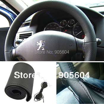 High quality DIY Black Leather Car Steering Wheel Cover With Needles & Thread Hand Sewing Wheel Covers