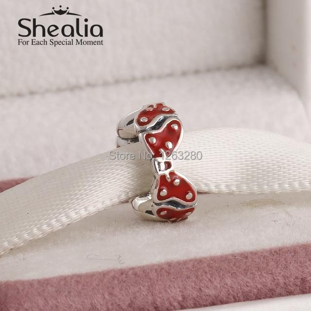 Весна 2015 новый минни лук spacer подвески красной эмалью стерлингового серебра 925 ювелирные изделия подходит известный бренд diy браслет SH0634