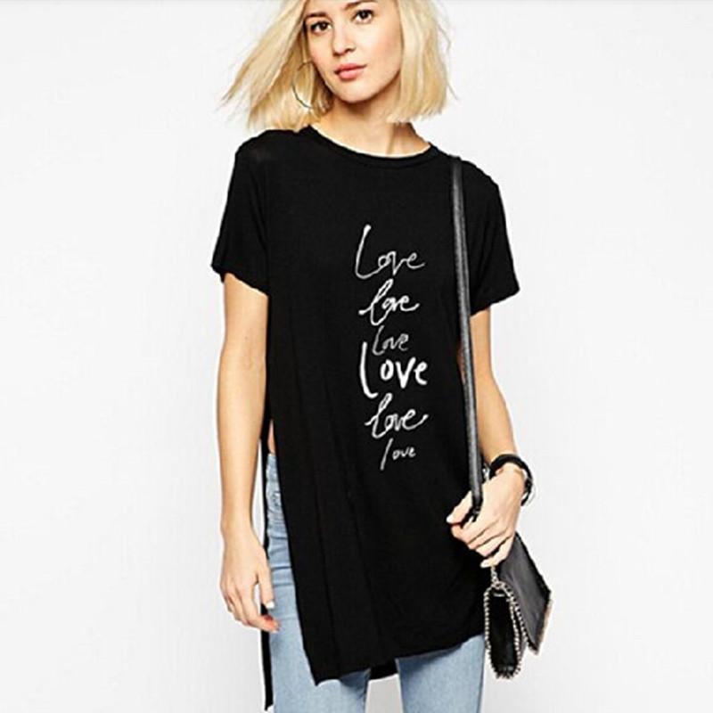 T Shirt Woman With Zip Korean Graphic Tees Women 2015 T Shirt Tops Print Cotton Lette Black Plus ...